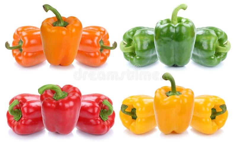 Ζωηρόχρωμες πάπρικες πάπρικας συλλογής πιπεριών πιπεριών κουδουνιών vegetab στοκ εικόνα