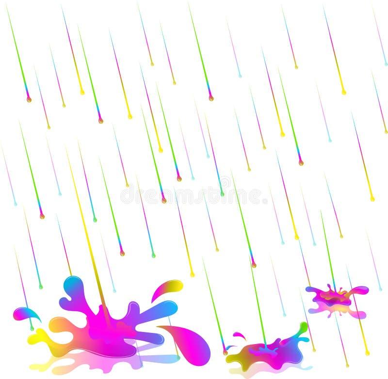 Ζωηρόχρωμες πτώσεις βροχής επίσης corel σύρετε το διάνυσμα απεικόνισης Απομονώστε στην άσπρη ανασκόπηση Η βροχή του χρώματος απεικόνιση αποθεμάτων