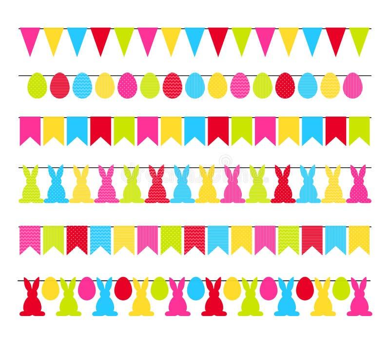 Ζωηρόχρωμες σημαίες γιρλαντών Πάσχας που απομονώνονται στο άσπρο vecto υποβάθρου απεικόνιση αποθεμάτων