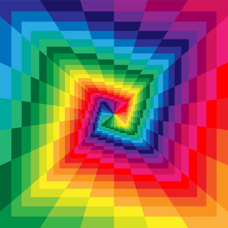 Ζωηρόχρωμες σπείρες των ορθογωνίων που επεκτείνονται από το κέντρο Οπτική παραίσθηση της προοπτικής διανυσματική απεικόνιση