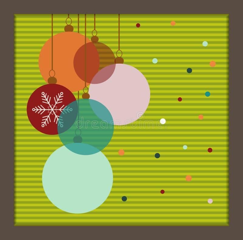 Ζωηρόχρωμες σφαίρες Χριστουγέννων με τα σημεία διανυσματική απεικόνιση
