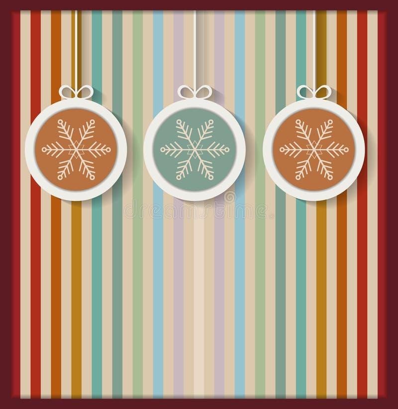 Ζωηρόχρωμες σφαίρες Χριστουγέννων με Snowflakes και το αναδρομικό υπόβαθρο διανυσματική απεικόνιση