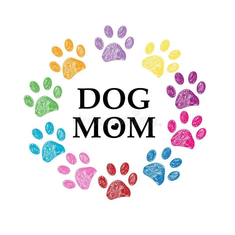 Ζωηρόχρωμες τυπωμένη ύλη και καρδιά ποδιών Κείμενο σκυλιών mom ευτυχής μητέρα s ημέρας ελεύθερη απεικόνιση δικαιώματος