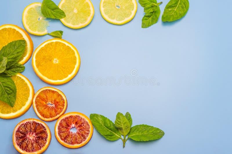Ζωηρόχρωμες φέτες του πορτοκαλιού, του λεμονιού, του κόκκινων πορτοκαλιού και της μέντας Ένα ξηρό πρόγευμα σε ένα κουτάλι στοκ εικόνα με δικαίωμα ελεύθερης χρήσης