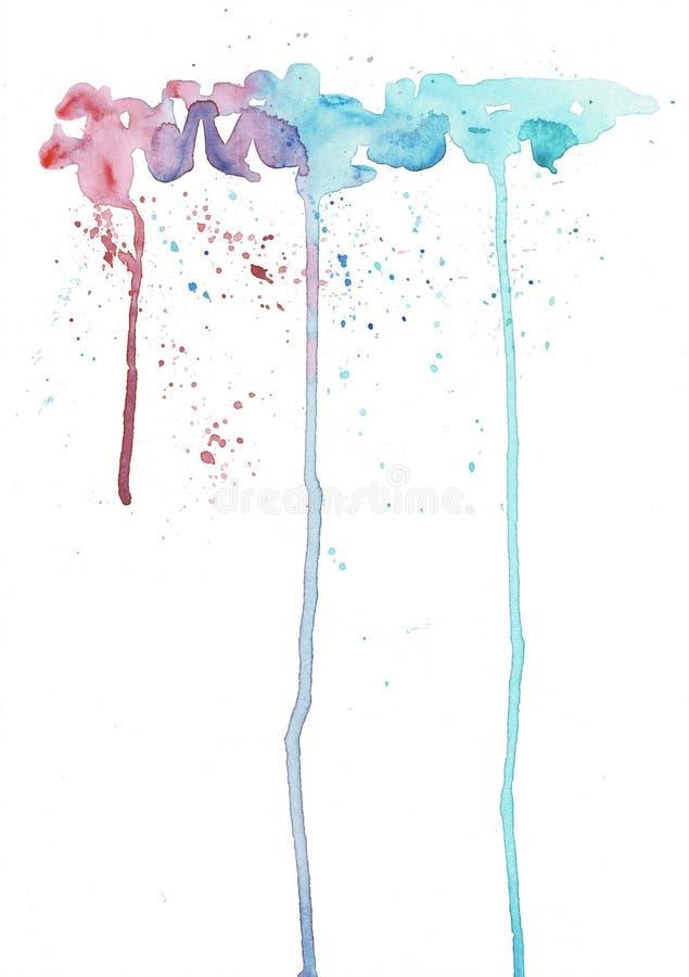 Ζωηρόχρωμες φωτεινές συστάσεις μελανιού και watercolor στο υπόβαθρο της Λευκής Βίβλου Διαρροές και ombre αποτελέσματα χρωμάτων διανυσματική απεικόνιση