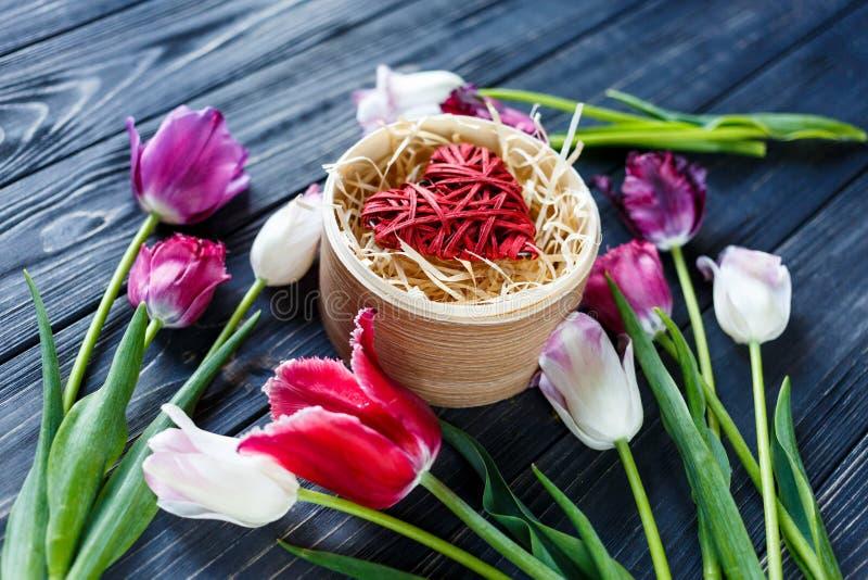 Ζωηρόχρωμες όμορφες ρόδινες ιώδεις τουλίπες και κόκκινη καρδιά στο στρογγυλό ξύλινο κιβώτιο στον γκρίζο ξύλινο πίνακα Βαλεντίνοι, στοκ φωτογραφίες