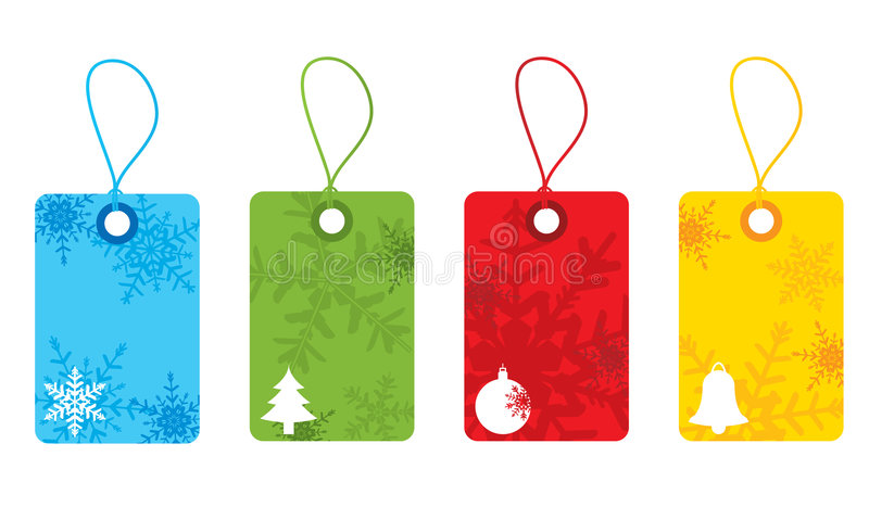 ζωηρόχρωμες snowflake Χριστουγέννων ετικέττες ελεύθερη απεικόνιση δικαιώματος