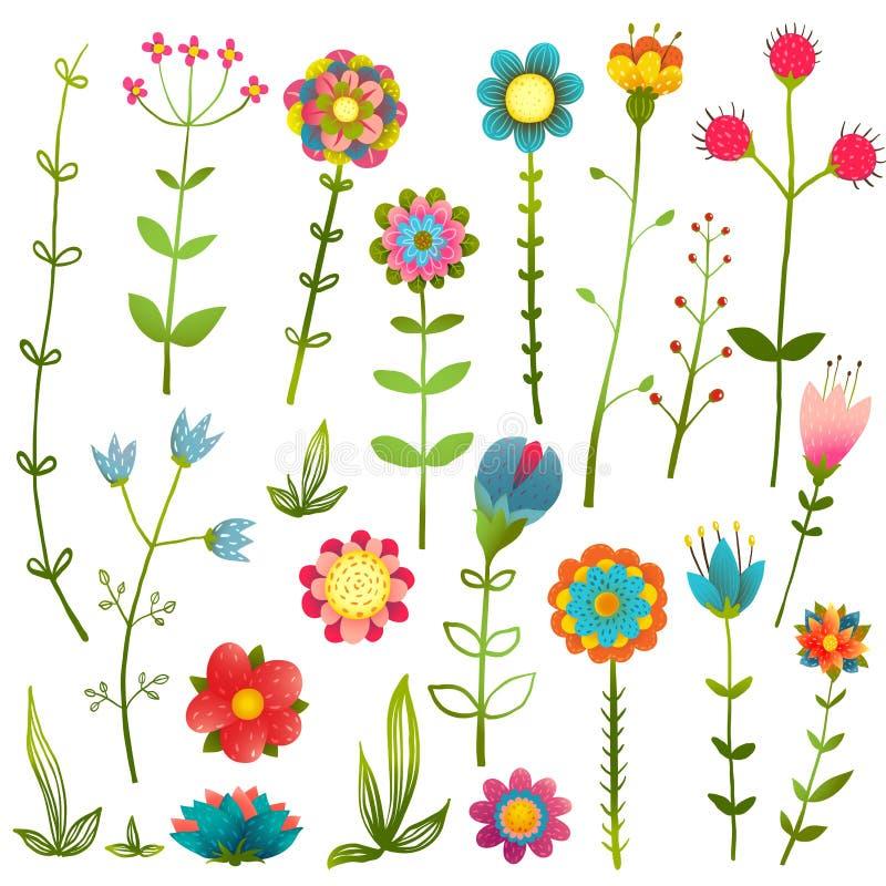 Ζωηρόχρωμη άγρια απομονωμένη λουλούδια συλλογή κινούμενων σχεδίων απεικόνιση αποθεμάτων