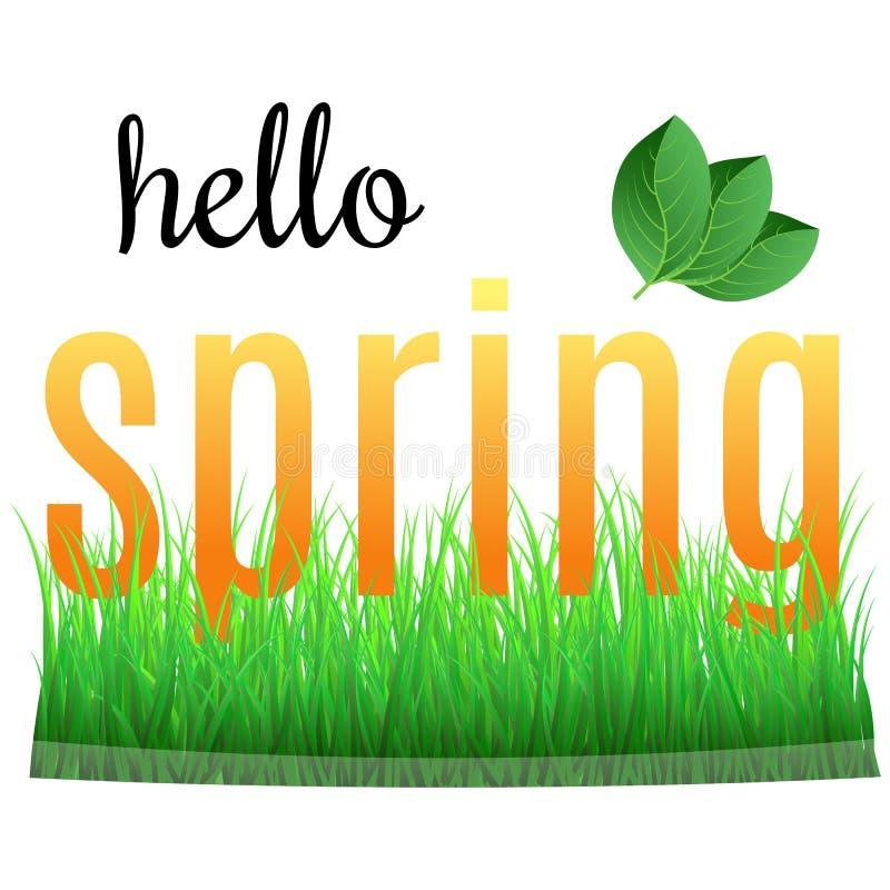 Ζωηρόχρωμη άνοιξη φράσης γειά σου με τα πράσινα φύλλα απεικόνιση αποθεμάτων