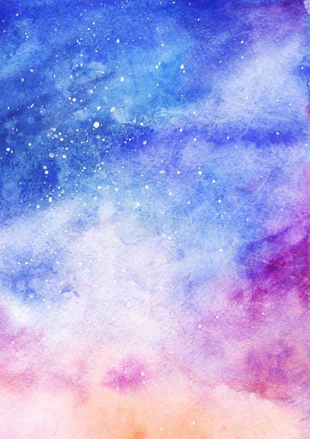 Ζωηρόχρωμη έναστρη διαστημική σύσταση σχεδίων υποβάθρου νεφελώματος γαλαξιών Watercolor διανυσματική απεικόνιση
