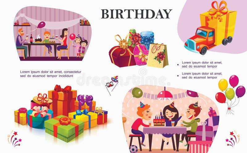 Ζωηρόχρωμη έννοια γιορτής γενεθλίων διανυσματική απεικόνιση