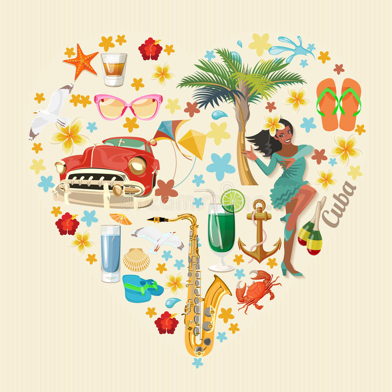 Ζωηρόχρωμη έννοια καρτών ταξιδιού της Κούβας απομονωμένο καρδιά λευκό ντοματών μορφής κόκκινος τρύγος ύφους κρίνων απεικόνισης Δι διανυσματική απεικόνιση