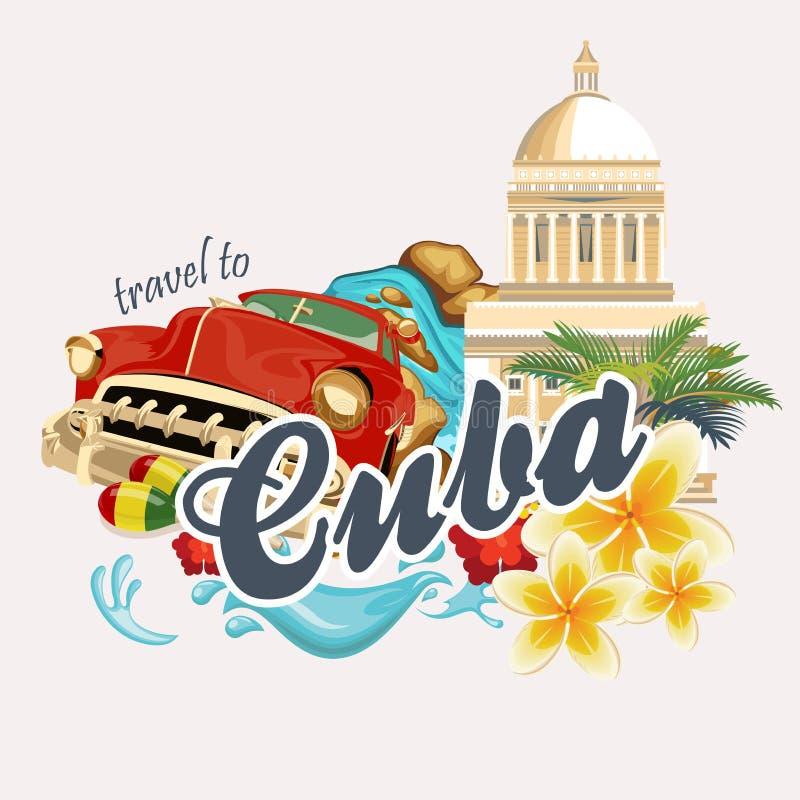 Ζωηρόχρωμη έννοια καρτών ταξιδιού της Κούβας Αφίσα ταξιδιού με το αναδρομικό αυτοκίνητο Διανυσματική απεικόνιση με τον κουβανικό  διανυσματική απεικόνιση