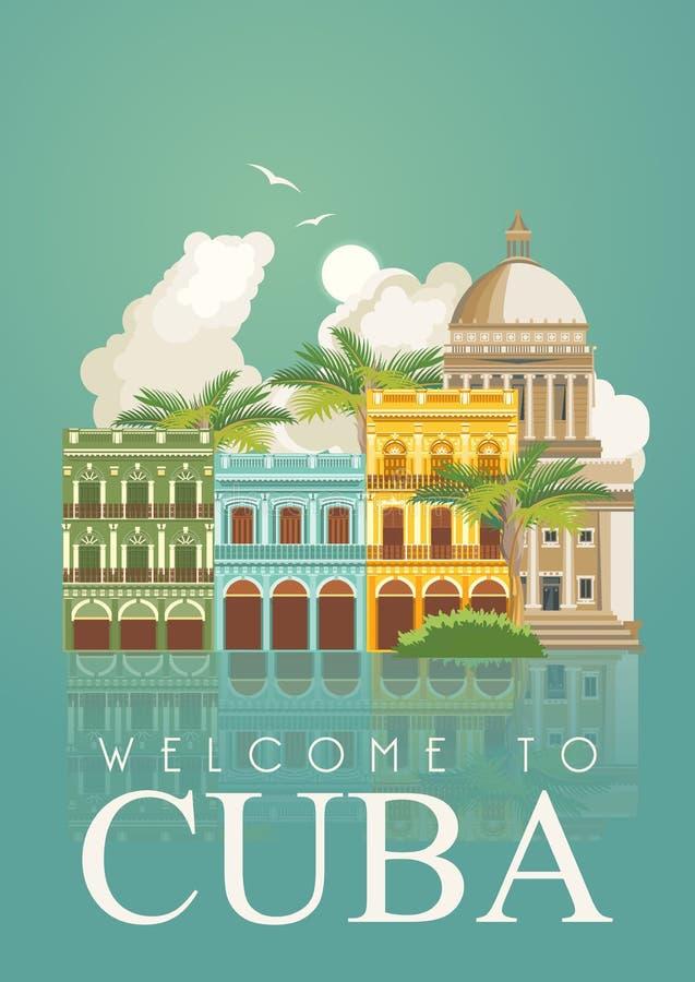 Ζωηρόχρωμη έννοια καρτών ταξιδιού της Κούβας κόκκινος τρύγος ύφους κρίνων απεικόνισης Διανυσματική απεικόνιση με τον κουβανικό πο ελεύθερη απεικόνιση δικαιώματος