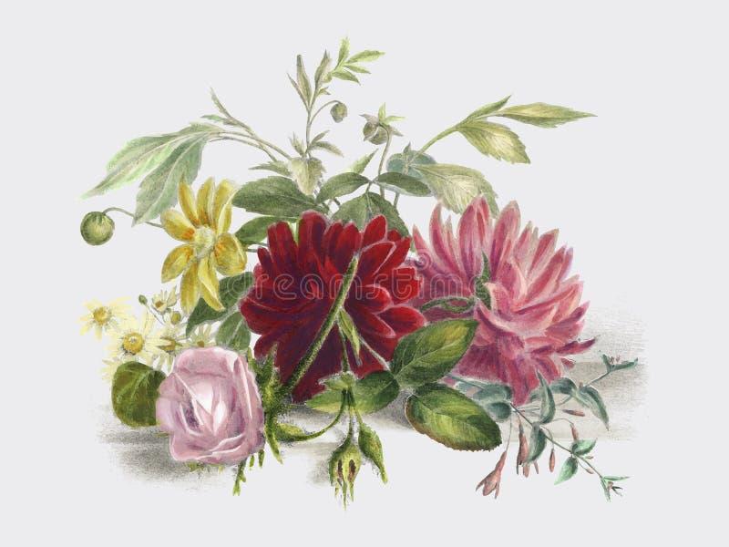 Ζωηρόχρωμη ακόμα ζωή των λουλουδιών 1850, μια ρύθμιση των όμορφων λουλουδιών Ψηφιακά ενισχυμένος από το rawpixel διανυσματική απεικόνιση