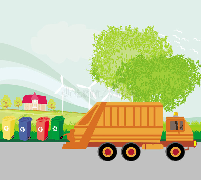 Ζωηρόχρωμη ανακύκλωσης έννοια οικολογίας δοχείων με το τοπίο διανυσματική απεικόνιση