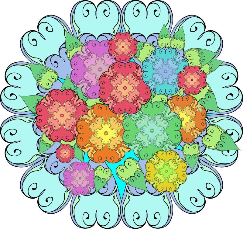 Ζωηρόχρωμη ανθοδέσμη των τυποποιημένων λουλουδιών, σύσταση, λουλούδια, διάνυσμα διανυσματική απεικόνιση
