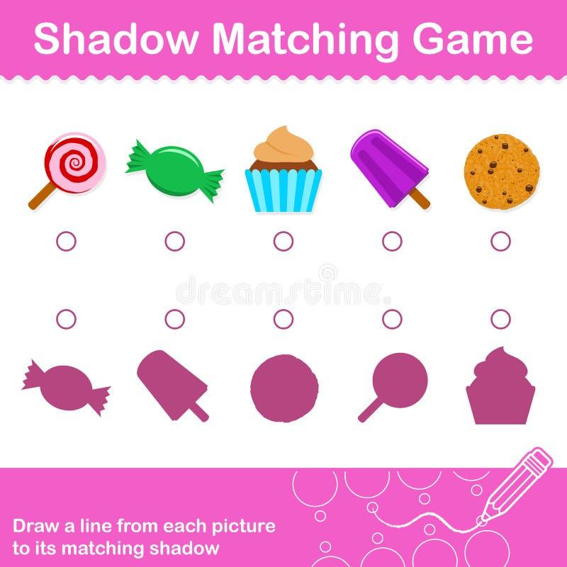 Ζωηρόχρωμη αντιστοιχία καραμελών διασκέδασης το παιχνίδι σκιών για τα παιδιά διανυσματική απεικόνιση