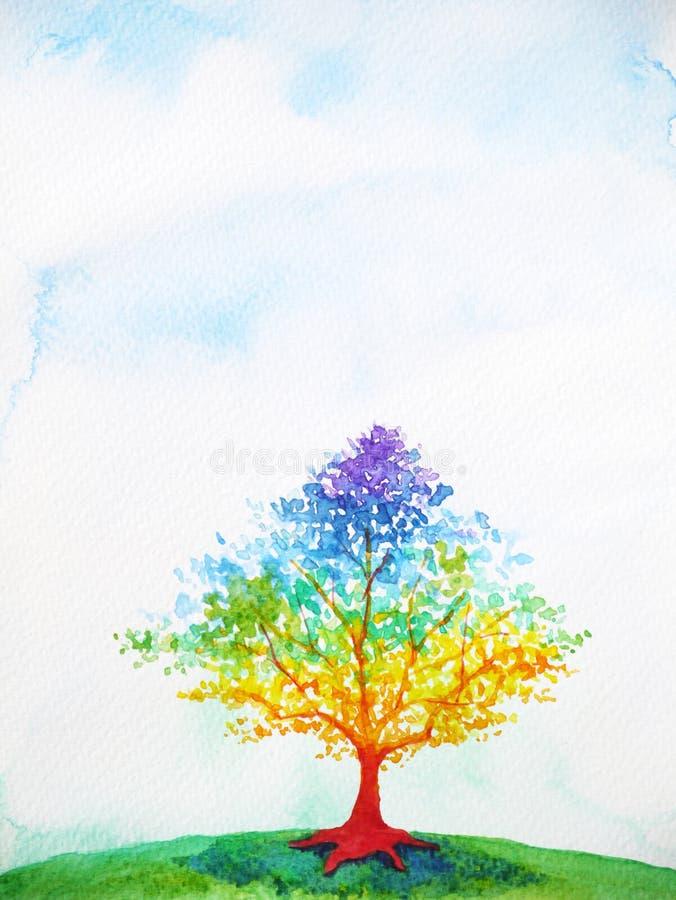 Ζωηρόχρωμη απεικόνιση ζωγραφικής watercolor χρώματος δέντρων ουράνιων τόξων διανυσματική απεικόνιση