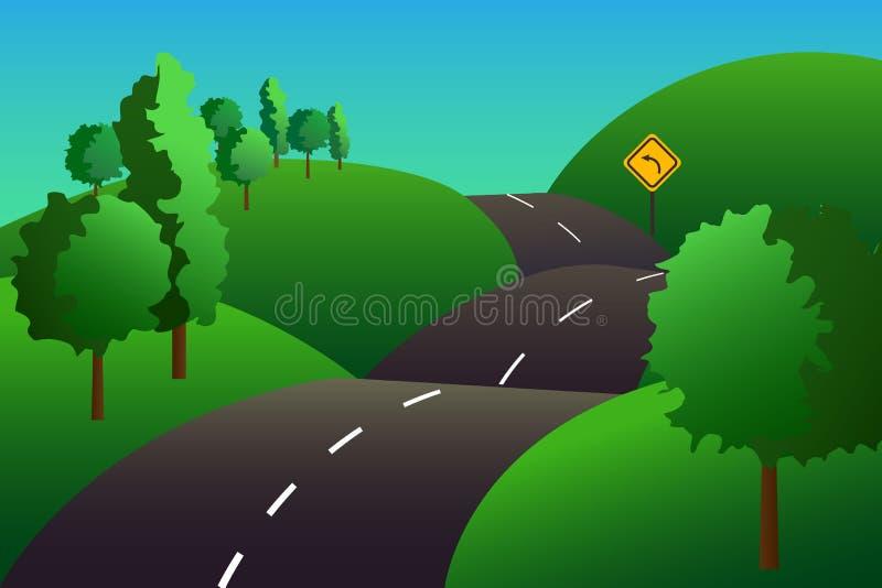 Ζωηρόχρωμη απεικόνιση με τους πράσινους λόφους και τους δρόμους με πολλ'ες στροφές στοκ φωτογραφίες