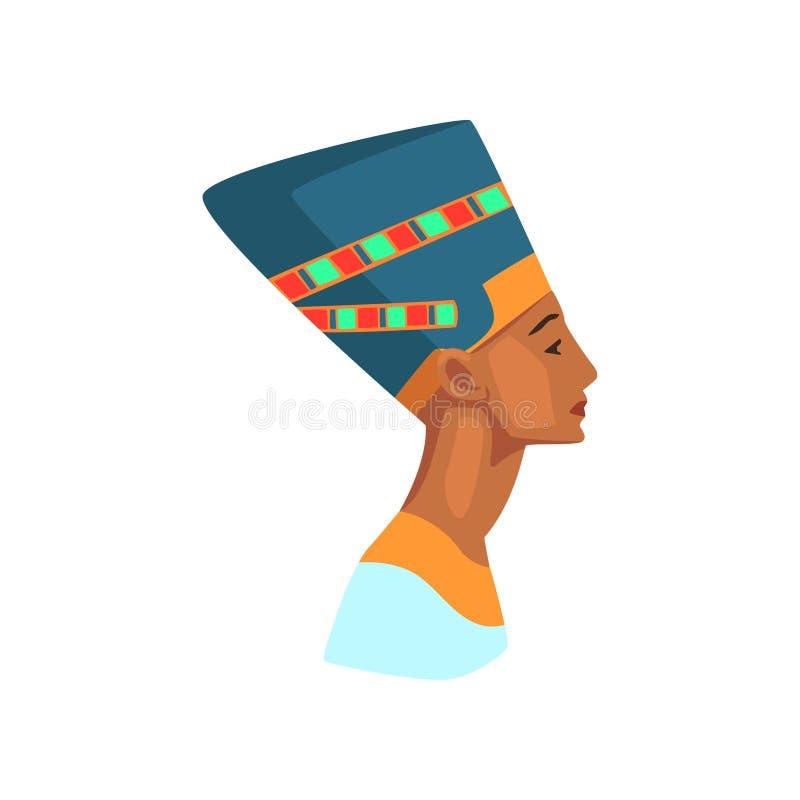 Ζωηρόχρωμη απεικόνιση της αιγυπτιακής βασίλισσας Άγαλμα Nefertiti Αίγυπτος στο ταξίδι Γραφικό στοιχείο για την αφίσα promo ή διανυσματική απεικόνιση