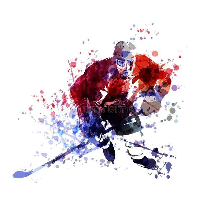 Ζωηρόχρωμη απεικόνιση του παίκτη χόκεϋ απεικόνιση αποθεμάτων