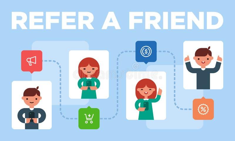 Ζωηρόχρωμη απεικόνιση των προσκλήσεων παραπομπής εργασίας από τους φίλους ελεύθερη απεικόνιση δικαιώματος