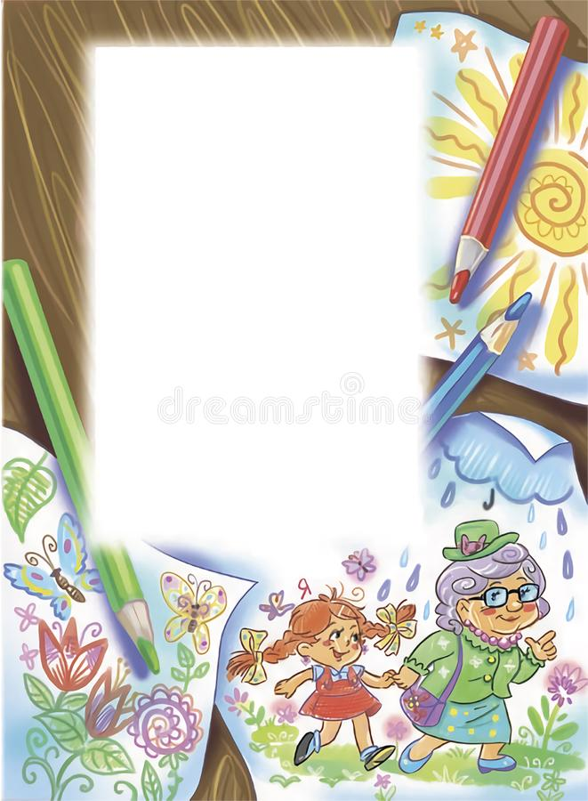 Ζωηρόχρωμη απεικόνιση των σχεδίων παιδιών ` s με το πρότυπο για το κείμενο ελεύθερη απεικόνιση δικαιώματος