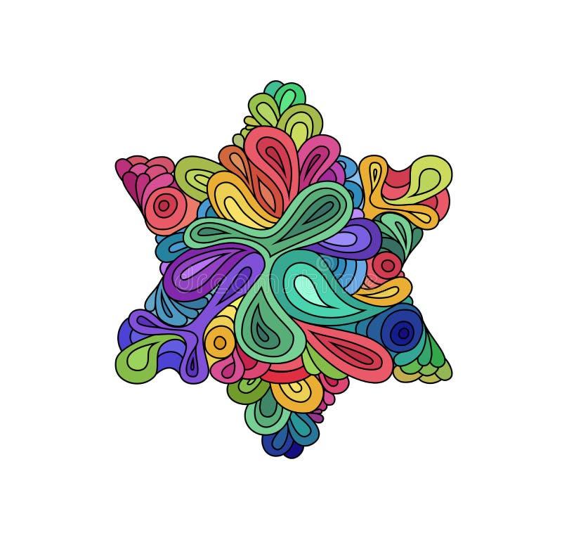 Ζωηρόχρωμη απεικόνιση hexagram ύφους Doodle Ζωηρόχρωμο σκίτσο zentangle hexagram Σκίτσο δερματοστιξιών Hexagram Εθνικά κυματιστά  απεικόνιση αποθεμάτων