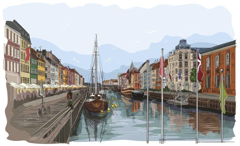 Ζωηρόχρωμη αποβάθρα στην Κοπεγχάγη διανυσματική απεικόνιση