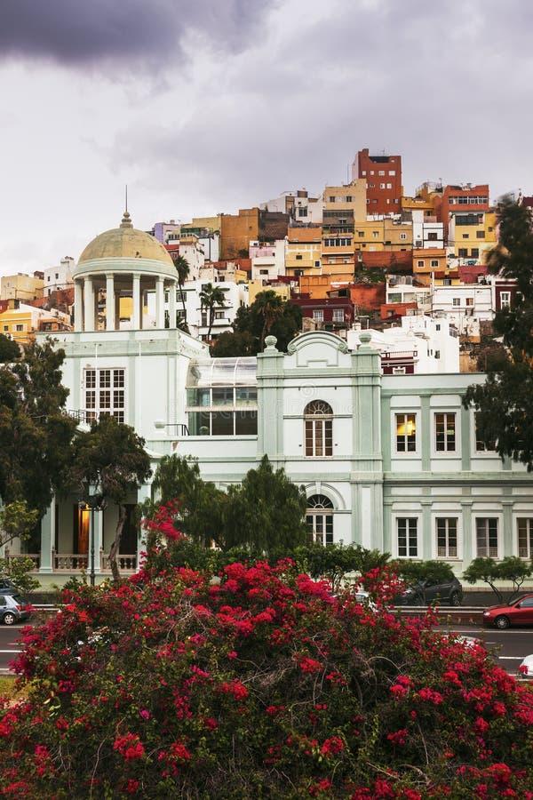Ζωηρόχρωμη αρχιτεκτονική Barrio San Juan στο Las Palmas στοκ εικόνα με δικαίωμα ελεύθερης χρήσης