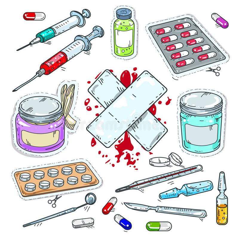 Ζωηρόχρωμη αυτοκόλλητη ετικέττα των ιατρικών φαρμάκων, των ταμπλετών, των συρίγγων και του ασβεστοκονιάματος διανυσματική απεικόνιση