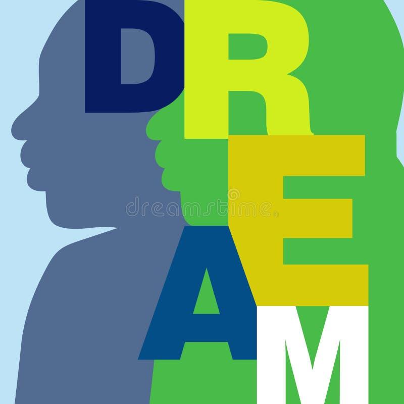 Ζωηρόχρωμη αφίσα που προωθεί τη βία ειρήνης μη και το αμερικανικό όνειρο απεικόνιση αποθεμάτων