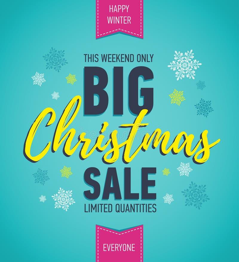 Ζωηρόχρωμη αφίσα πώλησης Χριστουγέννων μεγάλη πώληση έκπτωση διακοπών Χειμερινό εποχιακό έμβλημα Έμβλημα διακοπών Αφίσα αγορών απεικόνιση αποθεμάτων