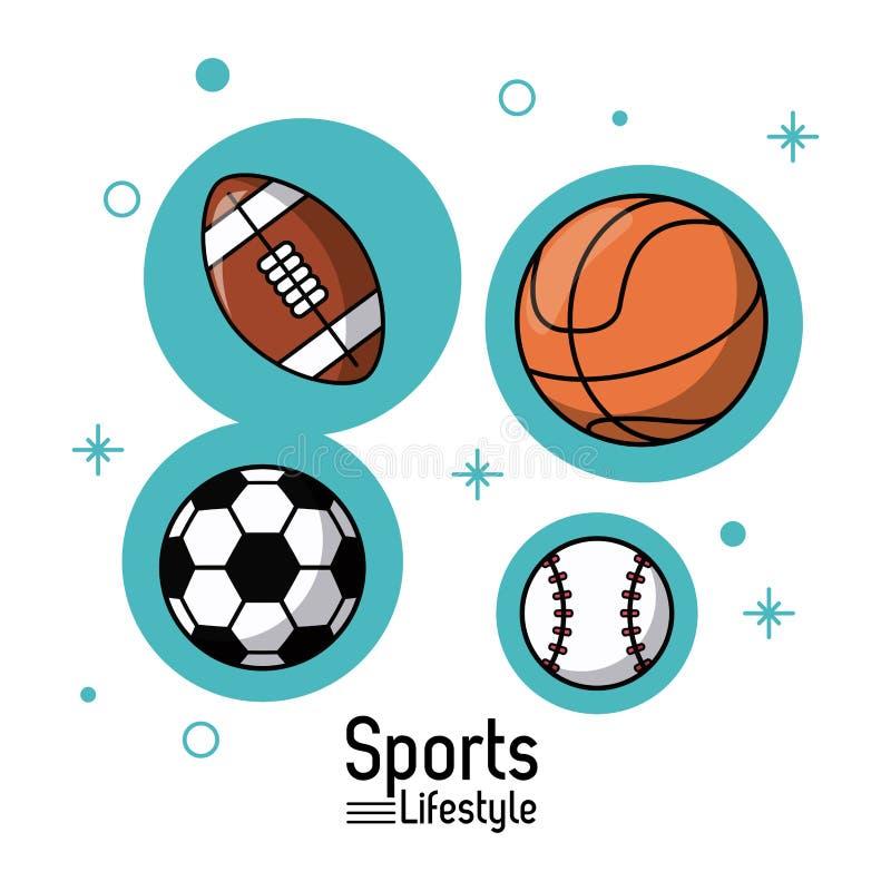 Ζωηρόχρωμη αφίσα του αθλητικού τρόπου ζωής με τις σφαίρες του ποδοσφαίρου και της καλαθοσφαίρισης και του ποδοσφαίρου και του μπέ ελεύθερη απεικόνιση δικαιώματος
