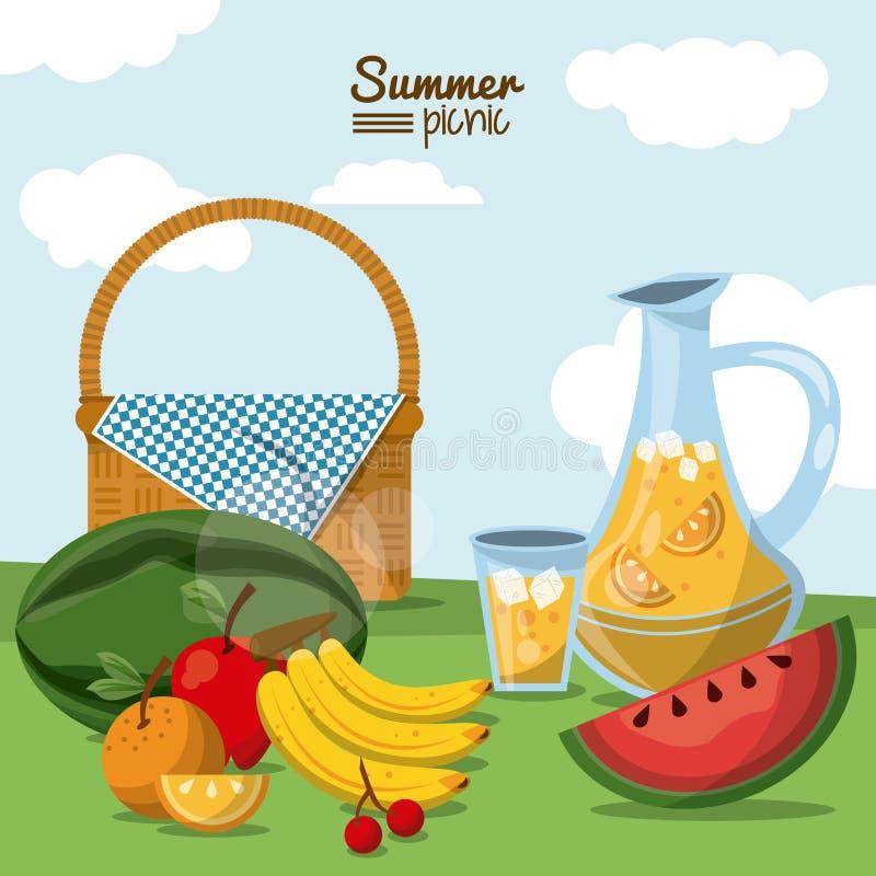 Ζωηρόχρωμη αφίσα του θερινού πικ-νίκ με το τοπίο τομέων και του καλαθιού πικ-νίκ με το βάζο και τα φρούτα χυμού διανυσματική απεικόνιση