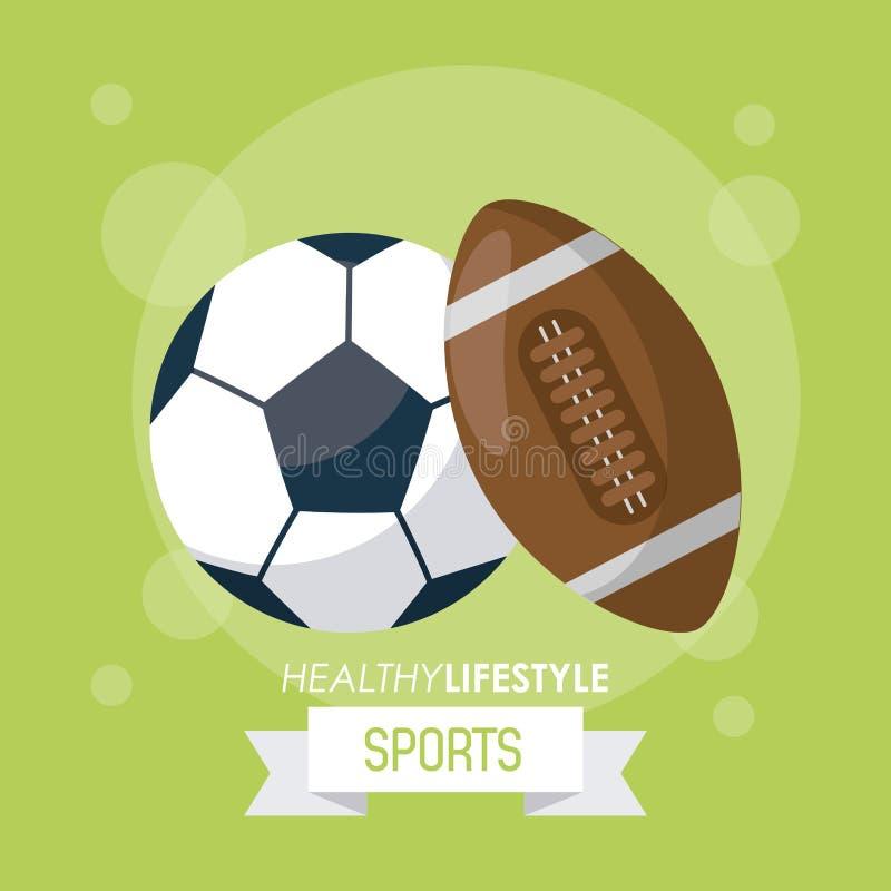 Ζωηρόχρωμη αφίσα του υγιούς αθλητισμού τρόπου ζωής με τις σφαίρες του ποδοσφαίρου και του αμερικανικού ποδοσφαίρου απεικόνιση αποθεμάτων
