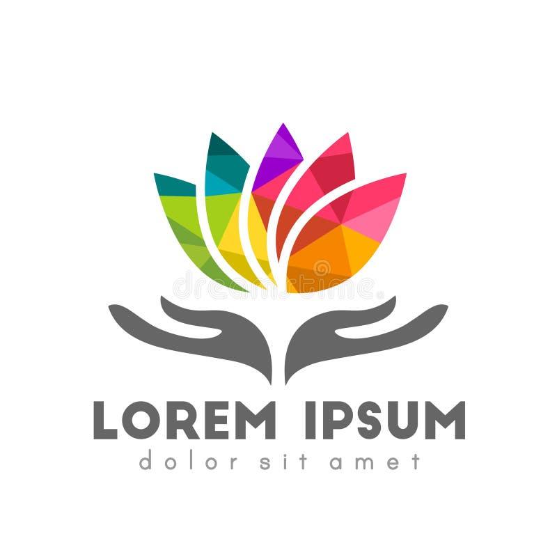 Ζωηρόχρωμη αφηρημένη έννοια λογότυπων λουλουδιών λωτού διανυσματική απεικόνιση