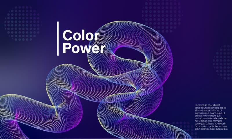 Ζωηρόχρωμη αφηρημένη αφίσα κλίσης Χρώματος πορφυρή ροής μίγματος κάλυψη παρουσίασης κύκλων φωτεινή δονούμενη o διανυσματική απεικόνιση