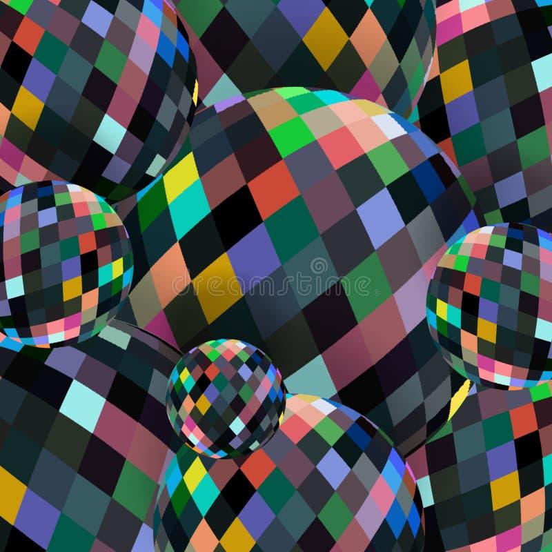 Ζωηρόχρωμη αφηρημένη ταπετσαρία σφαιρών κρυστάλλου Το γυαλί διακοσμεί το υπόβαθρο με χάντρες ελεύθερη απεικόνιση δικαιώματος