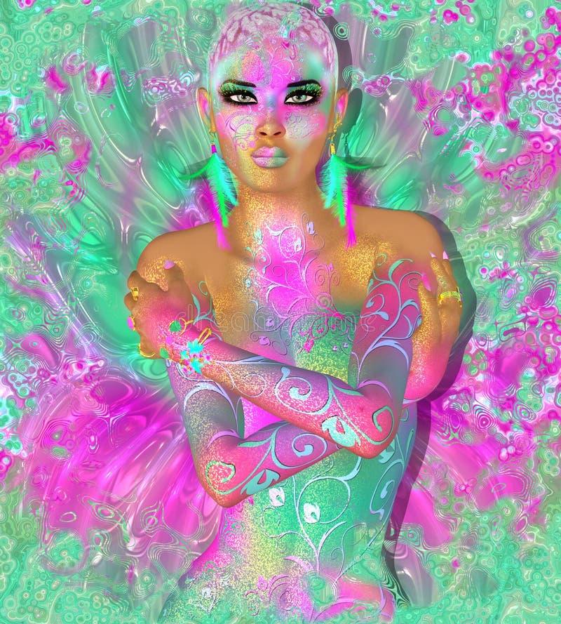 Ζωηρόχρωμη αφηρημένη, όμορφη γυναίκα μόδας, makeup, μακροχρόνια eyelashes με το σύντομα hairstyle και το pai σωμάτων στοκ φωτογραφία