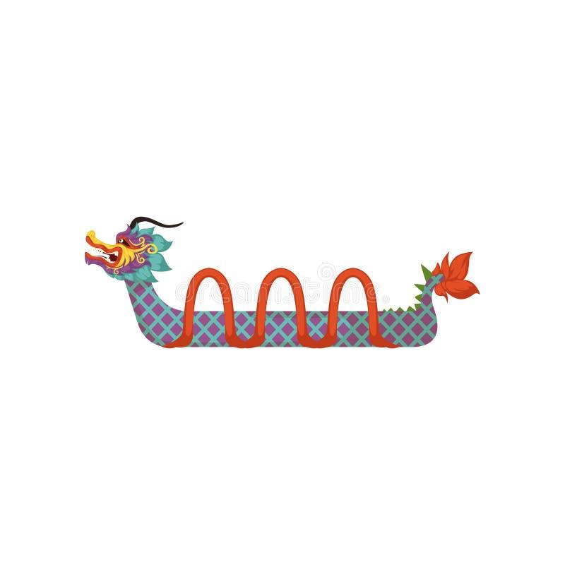 Ζωηρόχρωμη βάρκα δράκων, σύμβολο της κινεζικής παραδοσιακής διανυσματικής απεικόνισης φεστιβάλ σε ένα άσπρο υπόβαθρο ελεύθερη απεικόνιση δικαιώματος