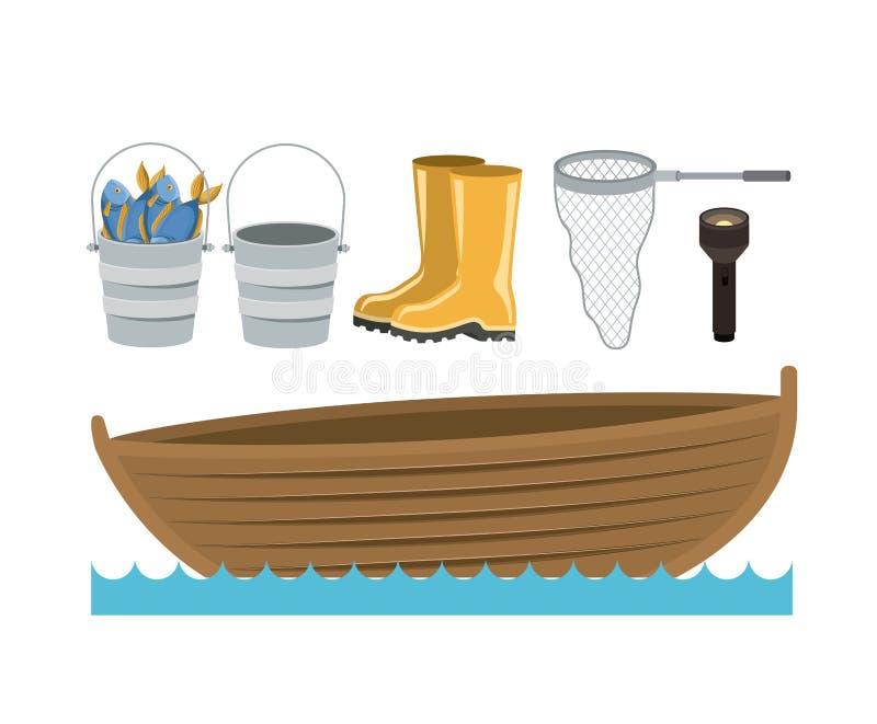 Ζωηρόχρωμη βάρκα σκιαγραφιών στα κύματα νερού και τα καθορισμένα στοιχεία συλλογής στην αλιεία ελεύθερη απεικόνιση δικαιώματος