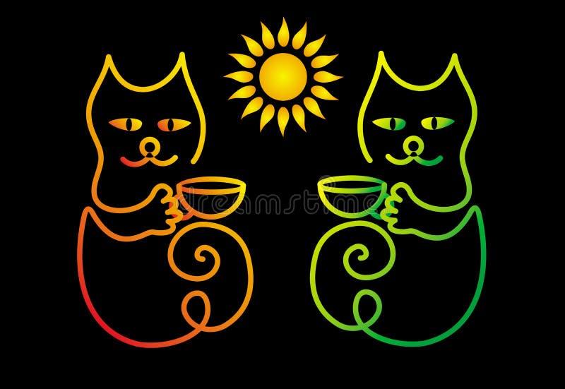 Ζωηρόχρωμη γάτα δύο κινούμενων σχεδίων σε ένα μαύρο υπόβαθρο με τα φλιτζάνια του καφέ ή το τσάι Κείμενο - φλυτζάνι καφέ απεικόνιση αποθεμάτων