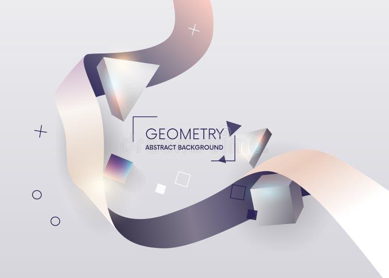 Ζωηρόχρωμη γεωμετρική αφηρημένη σύνθεση Η σύνθεση χρωμάτισε τις τρισδιάστατες γεωμετρικές μορφές και τις κορδέλλες Στοιχεία για τ διανυσματική απεικόνιση