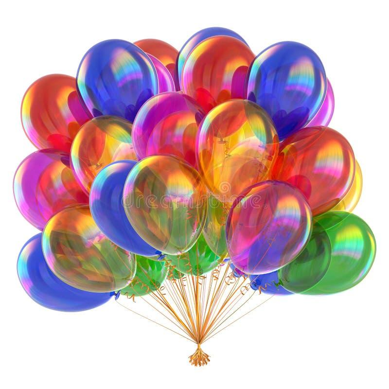 Ζωηρόχρωμη δέσμη μπαλονιών μπαλονιών πολύχρωμη στιλπνή διανυσματική απεικόνιση