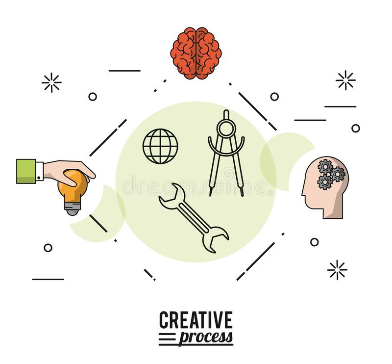 Ζωηρόχρωμη δημιουργική διαδικασία αφισών με τις σκιαγραφίες του χεριού με τη λάμπα φωτός και τον εγκέφαλο και πρόσωπο με τα γρανά ελεύθερη απεικόνιση δικαιώματος