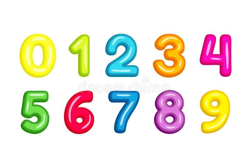 Ζωηρόχρωμη διανυσματική απεικόνιση αριθμών πηγών παιδιών που απομονώνεται στο λευκό ελεύθερη απεικόνιση δικαιώματος