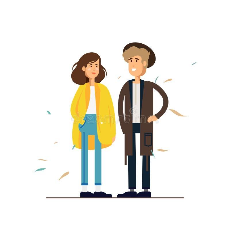 Ζωηρόχρωμη διανυσματική απεικόνιση που στέκεται το ευτυχές ρομαντικό ζεύγος που περπατά από κοινού Επίπεδοι χαρακτήρες κινούμενων διανυσματική απεικόνιση