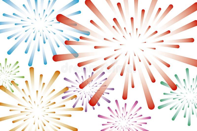 Ζωηρόχρωμη διανυσματική απεικόνιση υποβάθρου πυροτεχνημάτων ελεύθερη απεικόνιση δικαιώματος